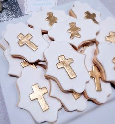 Gold cross cookies, custom cookie, baptism cookies