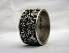 Gents wedding band. Sterling silver oxidized. by AlternativeJewel, $499.00