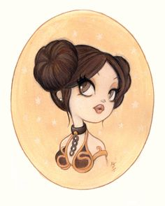 Original Painting : Little Leia | Anarkitty | Pop Surrealist Artist