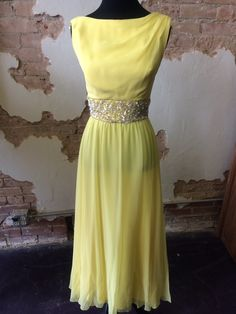 1960's yellow dress with sequined midsection, in great condition. www.therufflifelingerie.com