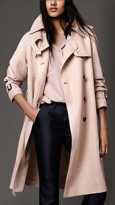 Rose glacé Trench-coat imperméable en coton mélangé - Image 1
