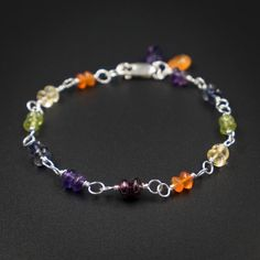multi gemstone chakra bracelet sterling silver gold filled