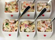 Pasta & Crab Salad served in a Pier 1 Tasting Party Tray Set