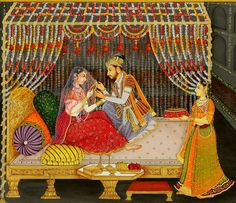 Mughal painting is a particular style of South Asian painting, generally confined to miniatures either as book illustrations or as single work, which emerged from Persian miniature painting, with Mughal Paintings, Indian Paintings, Art Paintings, Turbans, Mf Hussain Paintings, Famous Indian Artists, Rajasthani Painting, Wedding Painting, Mughal Empire