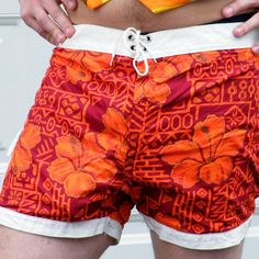 Mens Vintage Hawaiian Swim Trunks, Hawaiian Board Shorts, Surfer Shorts Sun-Dek of Hawaii, 36 Waist