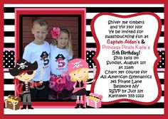 Twins or Sibling Photo Invitations | Pirate Birthday Invitations - Printable or Printed