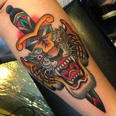 Home - Tattoo Spirit 22 Tattoo, Sick Tattoo, Dagger Tattoo, Calf Tattoo, Tiger Head Tattoo, Head Tattoos, Body Art Tattoos, Sleeve Tattoos, Traditional Panther Tattoo