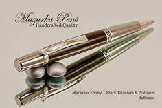 This handmade ballpoint pen combines the color of Macassar Ebony, its subtle grain character with a Black Titanium / Platinum finish.