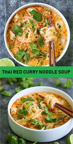 THAI RED CURRY NOODLE SOUP Yes, you can have Thai takeout right at home! This soup is packed with so much flavor with bites of tender chicken, rice noodles Vegetarian Recipes, Cooking Recipes, Healthy Recipes, Thai Curry Recipes, Thai Soup Vegetarian, Best Soup Recipes, Healthy Soups, Heathly Soup Recipes, Laksa Soup Recipes
