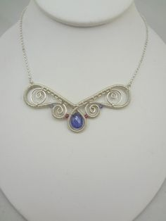 Tanzanite Spiral Wire Wrapped Necklace by TwistedBlissDesigns, $125.00