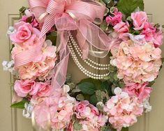 Hydrangea Wreath, Spring Wreath, Pink Flower Wreath, Grapevine Wreath - Wedding Wreath, Victorian Wreath by HoustonCustomWreaths on Etsy Silk Flower Wreaths, Pink Wreath, Hydrangea Wreath, Silk Flowers, Pink Hydrangea, Tulle Wreath, Floral Wreaths, Thanksgiving Wreaths, Easter Wreaths