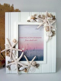 DANCING STARFISH sand dollar and shell frame by PinkPelicanDesigns, $58.00