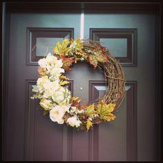 My Fall Wreath! White, metallic, plum, greens and golds