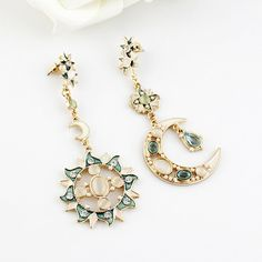 Blue Gemstone Gold Moon Sun Star Earrings