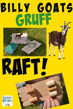 STEM Challenge to build a raft for the Billy Goats Gruff. Rafts made using lolly sticks, sponges and paper. Great book themed science experiment for World Book Day Stem Science, Science Experiments Kids, Science For Kids, Food Science, Kids Activity Books, Activities For Kids, Activity Ideas, Billy Goats Gruff, Traditional Tales