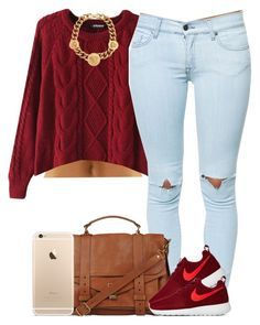 """""""Hi :)"""" by livelifefreelyy ❤ liked on Polyvore featuring Chicnova Fashion, Pistola, Proenza Schouler, NIKE and Versace"""