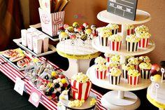 Love the color scheme and the treats! Movie Party Foods, Movie Night Party, Party Time, Movie Nights, 21st Birthday, Birthday Parties, Birthday Ideas, Red Carpet Theme, Popcorn Bar