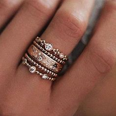 Rose gold ring stack - Tap the LINK now to see all our amazing accessories, that we have found for a fraction of the price Cute Jewelry, Jewelry Box, Jewelry Rings, Jewelry Accessories, Jewlery, Jewelry Stores, Pandora Jewelry, Jewelry Holder, Jewelry Ideas