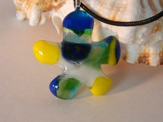 Fused Glass Dichroic Blue and Yellow Little Man by uniquenique, $23.00 #onfireteam #lacwe #teamfest