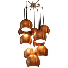 1960s Ten Copper Sphere Pendant Lamp | From a unique collection of antique and modern chandeliers and pendants  at https://www.1stdibs.com/furniture/lighting/chandeliers-pendant-lights/