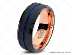 Mens Wedding Band Black/Blue Tungsten by ChromaColorJewelry http://etsy.me/1Fpusck via @Etsy