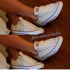 Wedding Converse, Bling&Pearls Custom Converse Sneakers, Personalized Chuck Taylors, All Star Conver Bride Converse, Wedding Converse, Custom Converse, White Wedding Shoes, Wedding Heels, Wedding Attire, Lace Sneakers, Converse Sneakers, Casamento