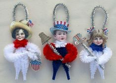 patriotic set of vintage style chenille ornaments - so cute!  - old World Primitives on etsy