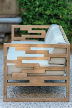 Sled base teak garden armchair KONTIKI by EMU GROUP