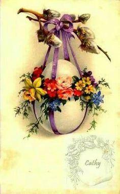 Vintage Stuff and Antique Designs Easter Egg Crafts, Easter Art, Diy Ostern, Easter Parade, Coloring Easter Eggs, Easter Holidays, Vintage Greeting Cards, Vintage Easter, Easter Wreaths