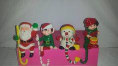 Vintage Holiday Christmas Stocking Hanger, Set of 4, Stocking Holder, Shelf Sitter, Kitsch, Elf, Snowman, Santa, Drummer Boy, Holiday by JunkYardBlonde on Etsy