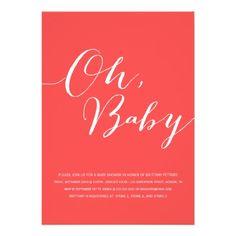 Oh, Baby - Red/Orange Baby Shower Invites