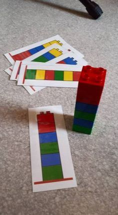 8 duplos, un pdf à imprimer plastifier, and c'est parti pour quelques minutes .Busy bag Duplo© – Montessori … mais pas que !Encourages visual memory, copying, direction planning and movement. Can grade the activity by only having the colors needed o Toddler Learning Activities, Montessori Activities, Preschool Learning, Infant Activities, Activities For Kids, Teaching, Montessori Kindergarten, Montessori Elementary, Montessori Education