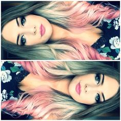 Brown to blonde to purple ombre instead hair. Beautiful! Doin it!