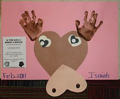 This is a cute craft idea!  The boys would especially love it!! Moose made from hearts and handprints