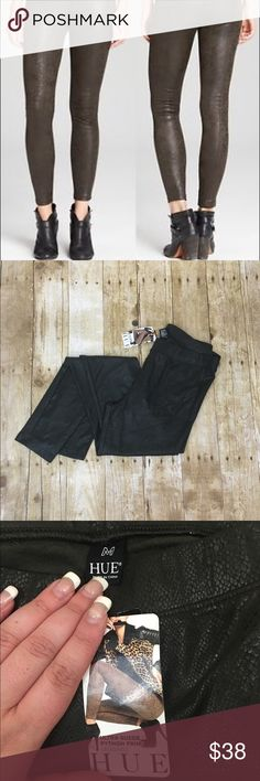 Dark green faux suede Python print leggings Super cute and soft still has tags HUE Pants Leggings