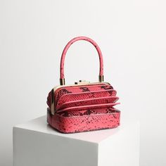 9b639acda3 Pink snakeskin Multilayers Organ Square Leather Purse Vintage Handbags