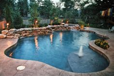 I like the itsy bitsy water spout. Inground Pools Designed for Backyard Living - Residential Gallery Inground Pool Designs, Backyard Pool Designs, Swimming Pools Backyard, Swimming Pool Designs, Pool Landscaping, Pool Spa, Pools Inground, Backyard Ideas, Living Pool