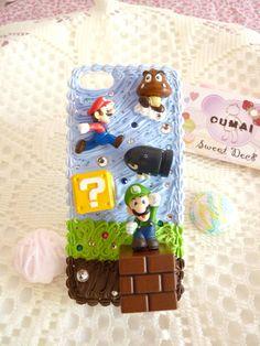 iPhone 5 Nintando Super Mario decoden/deco cream by CumaiSweetDeco, $35.00