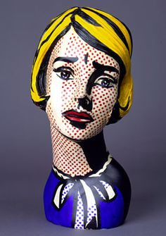 Head of Girl, 1964 - Roy Lichtenstein - Painted mannequin head, 15 x 6 1/4 x 7 1/2 inches, 38.1 x 15.9 x 19.1 cm