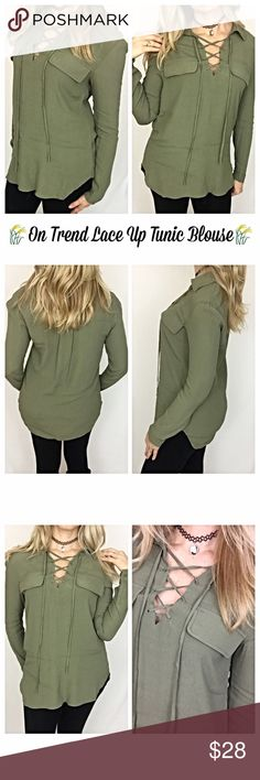 """On Trend Lace Up Tunic Blouse in Olive SML Love the olive color of this gorgeous on trend Lace Up Tunic Blouse with faux pocket detail. Such a flattering neutral shade on everyone & can be dressed up or down. Wear with dress pants, pilazzos, jeans, leggings, jeggings or skinnies. 100% Polyester  Small Bust 32-36 Length 28"""" Medium Bust 36-38 Length 28.5"""" Large Bust 38-40 Length 29"""" Tops"""