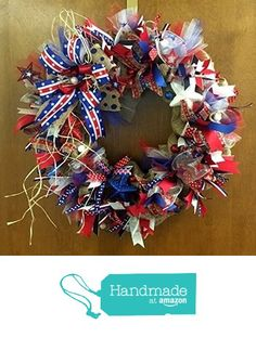 Patriotic Independence Day, 4th of July, Memorial Day Burlap Holiday Wreath with Sparkle. Super Cute & Whimsical from Premier Table Covers https://www.amazon.com/dp/B0722Q14DT/ref=hnd_sw_r_pi_dp_8LjdzbAJ3T2HZ #handmadeatamazon