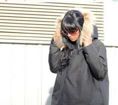 Black Jacket with Fox Fur Hoodie, Winter Waterproof #maternityjacket #partycoat #hoodedjacket #plussizecoat #furfox #comfyjacket #warmwintercoat #plussizewomen #blackjacket #foxfurhoodie #winterjacket #waterproofjacket #warmcoatwomen