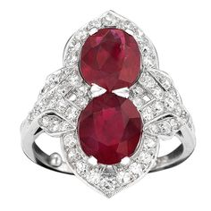 CARTIER Two-Stone Burma Ruby and Diamond Ring