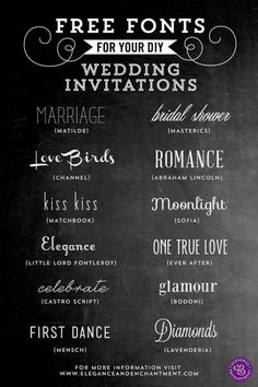 Free Fonts for DIY Wedding Invitations  Wedding-Related Printables ~  These fonts are for creating beautiful, elegant wedding invitations and stationery. All of these fonts are completely free to download, as long as they are for personal use only.  Downloads @: http://www.eleganceandenchantment.com/free-fonts-for-diy-wedding-invitations/
