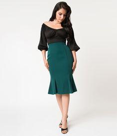 Micheline Pitt For Unique Vintage 1940s Style Green High Waist Sassafras Pencil Skirt