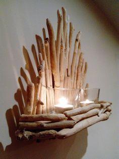 Driftwood candle holder, driftwood candelabra,driftwood art,beach decor, coastal decor, natural decor, home decor, driftwood sculpture by DriftwoodAndPebbles on Etsy