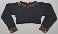 Textile heritage from Scania province in southern Sweden. The Spedetroja. Handknitted sweaters by the peasants were decorated with exquisite velvet and silk ribbons, or pieces of silk or other expensive fabrics, and beads brought home by sailors, as much as the women on farms could afford with. Their inspiration came from the upper class people who wore whole dresses of those fabrics. The neck and cuffs could be extremely decorated especially by women from wealthier farms. Spedetröjor…