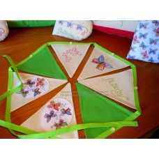 The Summer Butterflies Collection Bunting in Lime Green available to buy from www.imogenallendesigns.co.uk