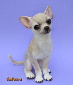 VERKAUFT. Bella die Chihuahua - OzBears Nadel gefilzt Sammlerstücke OOAK Teddybär Hund Puppe