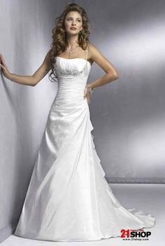 Spaghetti Straps Beaded Satin A-line/Princess Simple Wedding Dress